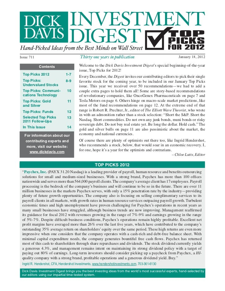 Dick Davis Investment Digest Jan. 18, 2012