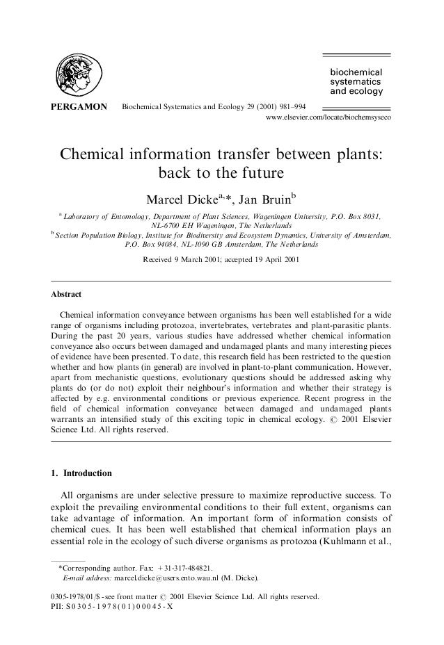 Biochemical Systematics and Ecology 29 (2001) 981–994 Chemical information transfer between plants: back to the future Mar...