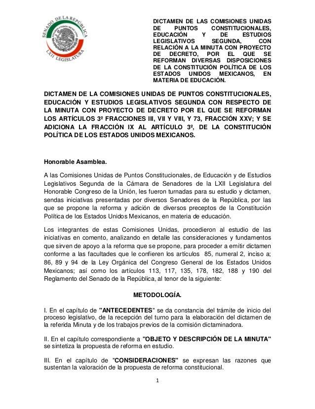 DICTAMEN DE LAS COMISIONES UNIDAS DE PUNTOS CONSTITUCIONALES, EDUCACIÓN Y DE ESTUDIOS LEGISLATIVOS SEGUNDA, CON RELACIÓN A...