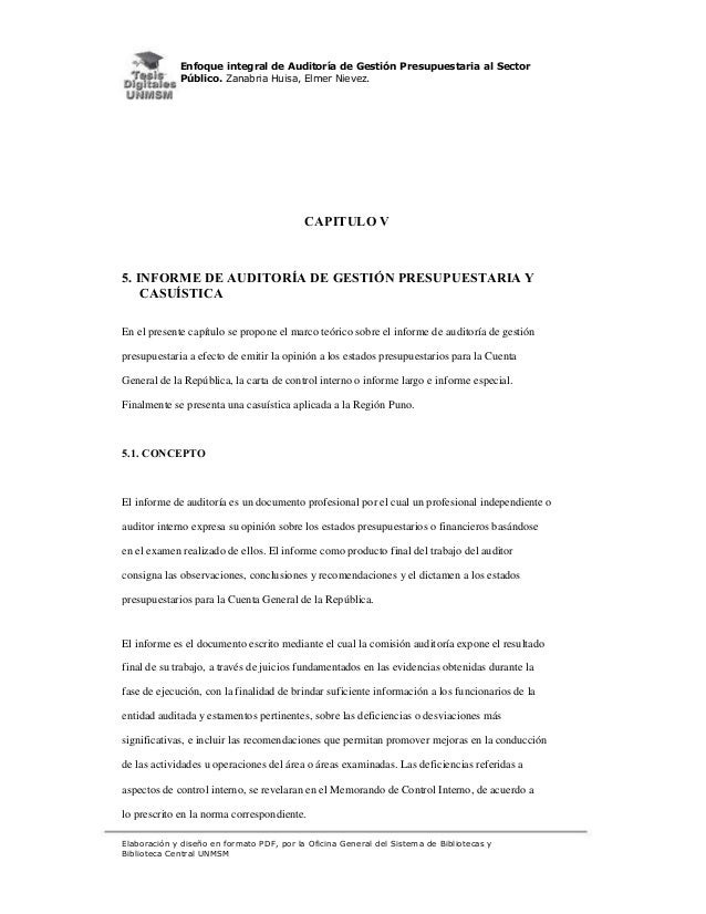 Enfoque integral de Auditoría de Gestión Presupuestaria al Sector Público. Zanabria Huisa, Elmer Nievez.  CAPITULO V  5. I...