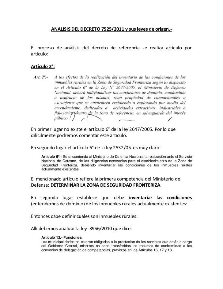 ANALISIS DEL DECRETO 7525/2011 y sus leyes de origen.-El proceso de análisis del decreto de referencia se realiza artículo...