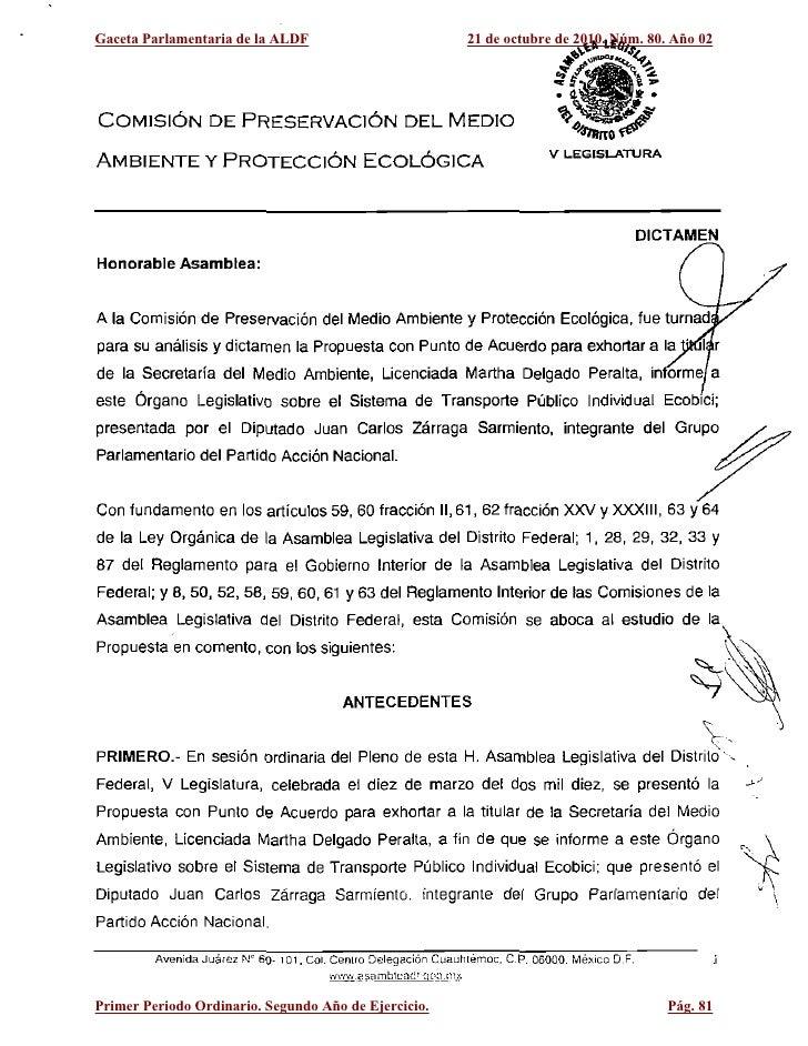 Gaceta Parlamentaria de la ALDF                                   21 de octubre de 2010. Núm. 80. Año 02     COMISiÓN DE P...