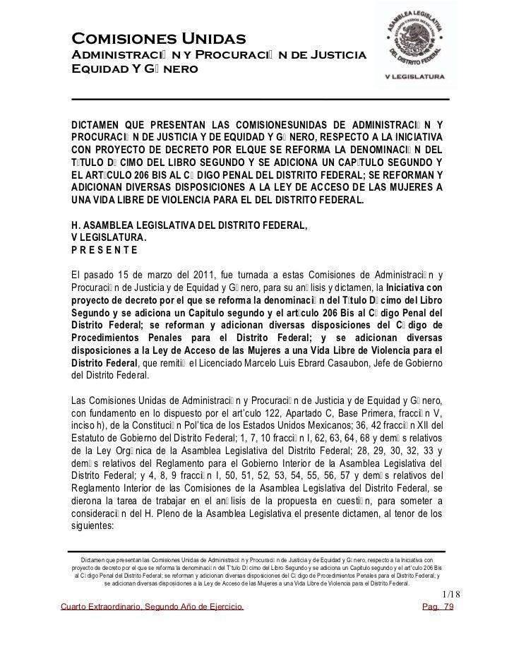 Comisiones UnidasAdministraci— n y Procuraci— n de JusticiaEquidad Y GŽ neroDICTAMEN QUE PRESENTAN LAS COMISIONESUNIDAS DE...