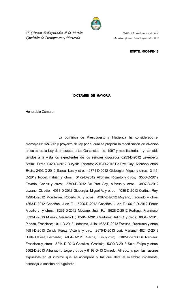 """H. Cámara de Diputados de la Nación """"2013- Año del Bicentenario de la Comisión de Presupuesto y Hacienda Asamblea General ..."""