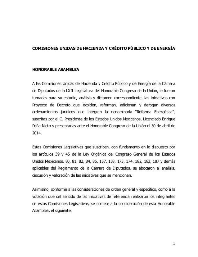 dictamen que plantea la creación de la Ley de Ingresos sobre Hidrocarburos y la Ley del Fondo Mexicano del Petróleo para la Estabilización