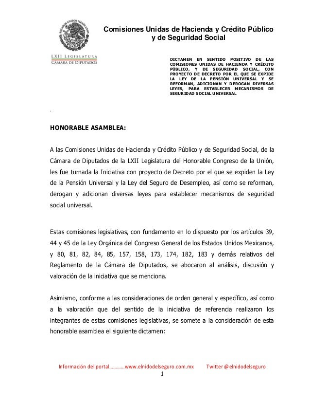 Comisiones Unidas de Hacienda y Crédito Público y de Seguridad Social DICTAMEN EN SENTIDO POSITIVO DE LAS COMISIONES UNIDA...
