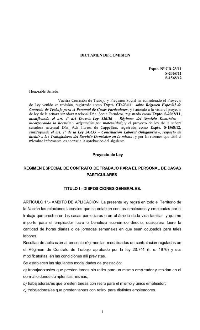 Dictamen proyecto de ley trabajadores casas particulares cd 23-11