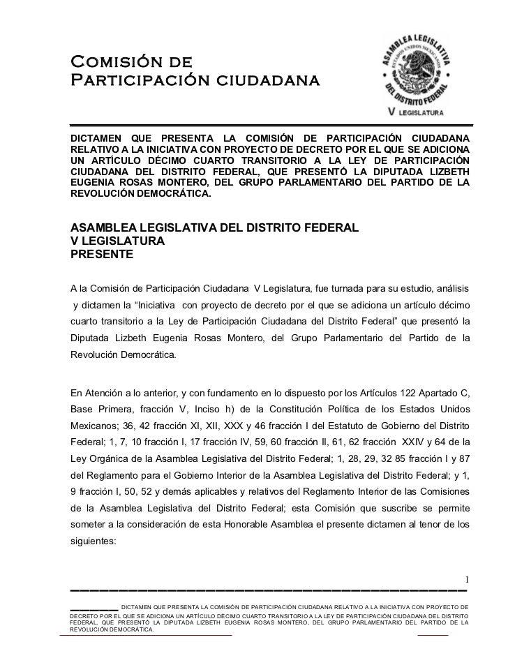 Dictamen que adiciona un Art. décimo cuarto transitorio a la Ley de Participación ciudadana