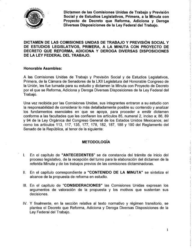 Dictamen de la Reforma Laboral 2012