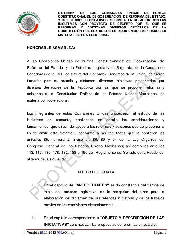 DICTAMEN DE LAS COMISIONES UNIDAS DE PUNTOS CONSTITUCIONALES; DE GOBERNACIÓN; DE REFORMA DEL ESTADO, Y DE ESTUDIOS LEGISLA...