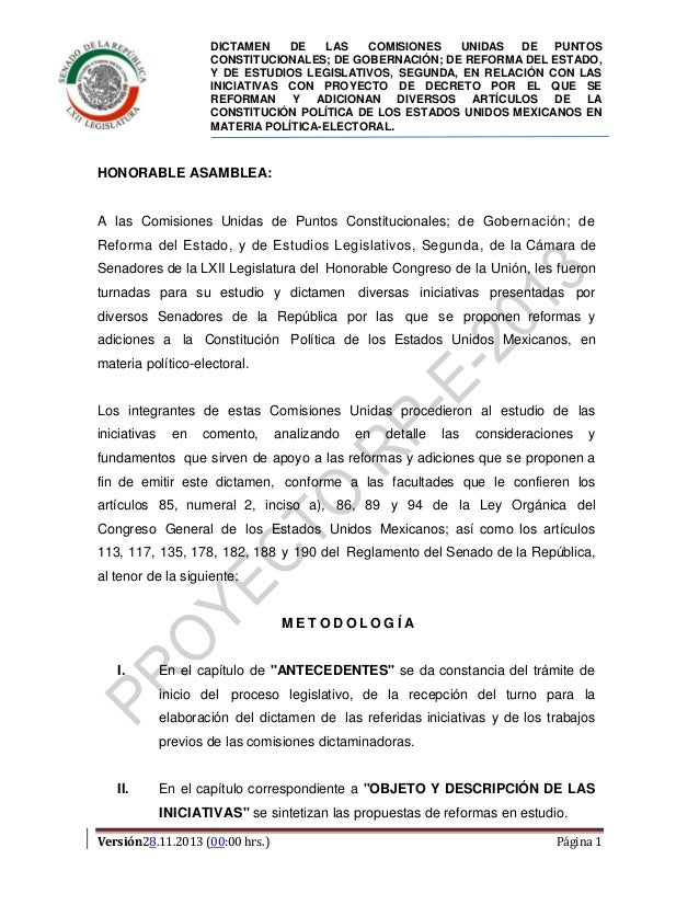 Dictamen de Reformas Política y Electoral aprobado en Comisiones del Senado