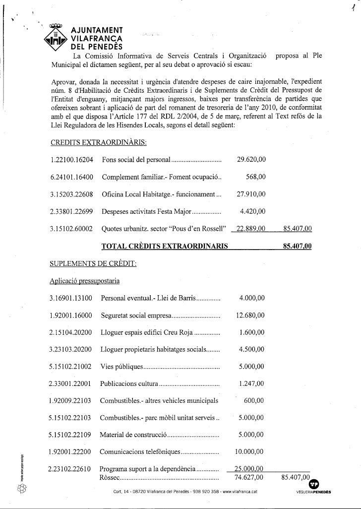 Dictàmens del Ple Municipal