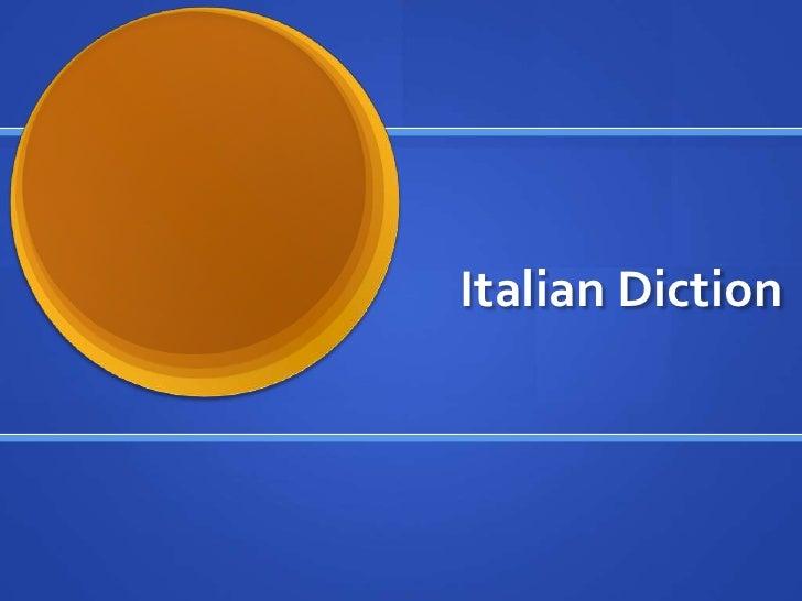 Italian Diction<br />