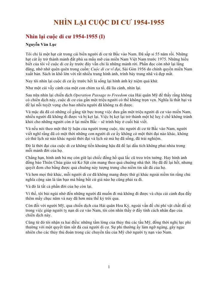 NHÌN LẠI CUỘC DI CƯ 1954-1955 Nhìn lại cuộc di cư 1954-1955 (I) Nguyễn Văn Lục  Tôi chỉ là một hạt cát trong cái biển ngườ...