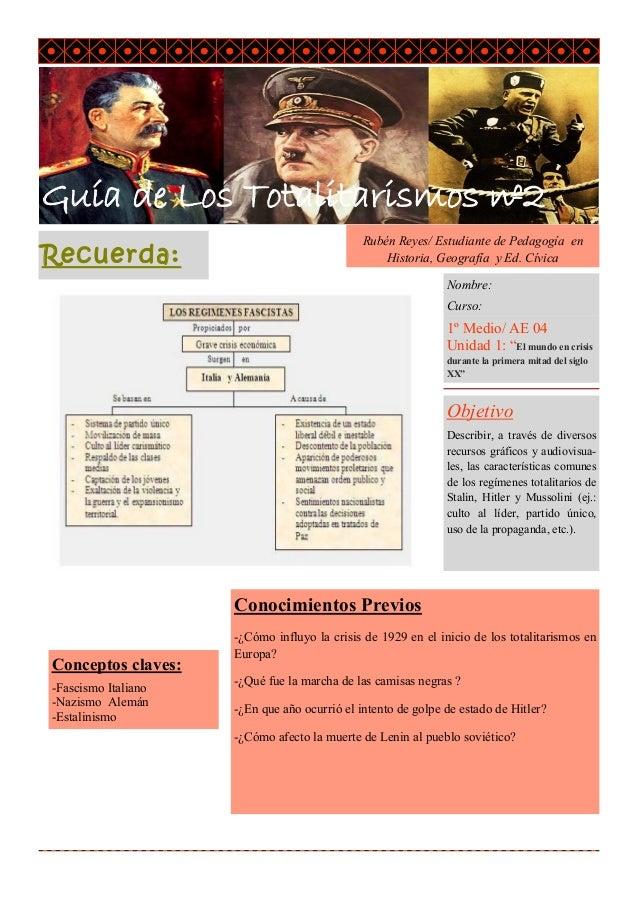 Guía de Los Totalitarismos nº2 Nombre del tr ab ajo  R ec uer da:  Rubén Reyes/ Estudiante de Pedagogía en Historia, Geogr...