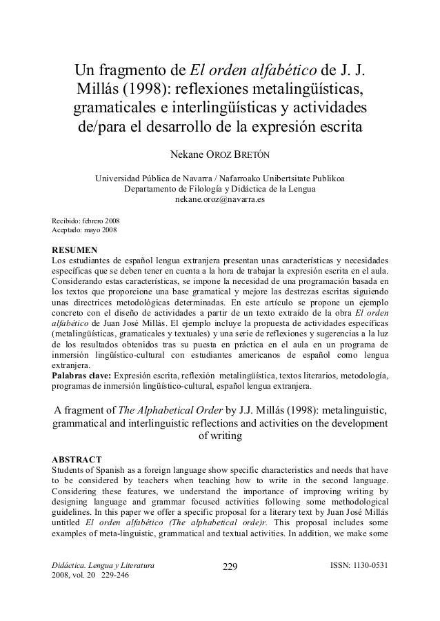 Un fragmento de El orden alfabético de J. J.      Millás (1998): reflexiones metalingüísticas,      gramaticales e interli...