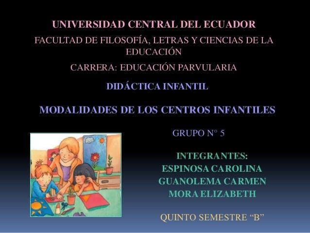 UNIVERSIDAD CENTRAL DEL ECUADORFACULTAD DE FILOSOFÍA, LETRAS Y CIENCIAS DE LA                 EDUCACIÓN      CARRERA: EDUC...