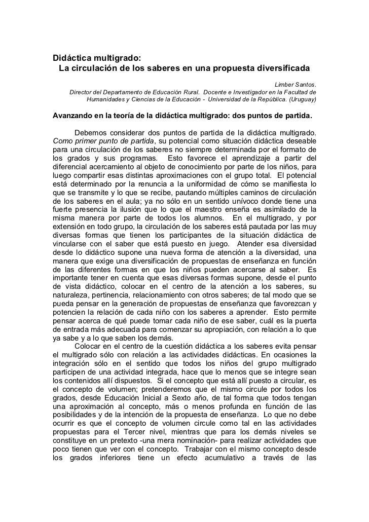 Didáctica multigrado: La circulación de los saberes en una propuesta diversificada                                        ...
