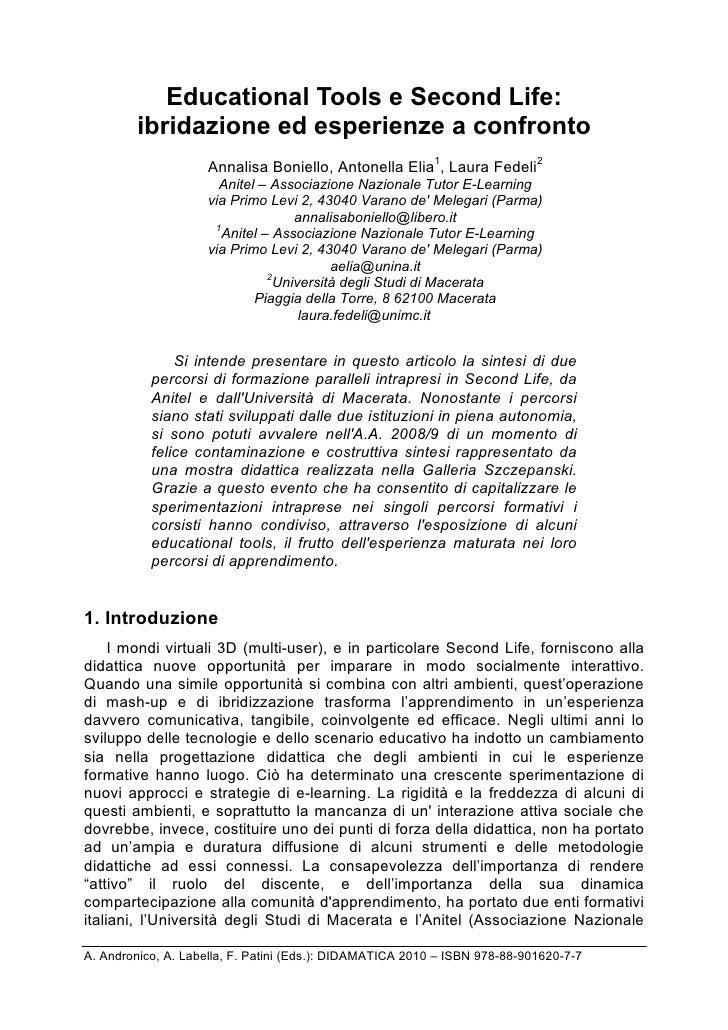 Educational Tools e Second Life:         ibridazione ed esperienze a confronto                     Annalisa Boniello, Anto...