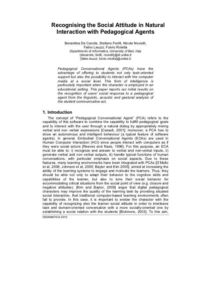 Recognising the Social Attitude in Natural      Interaction with Pedagogical Agents              Berardina De Carolis, Ste...
