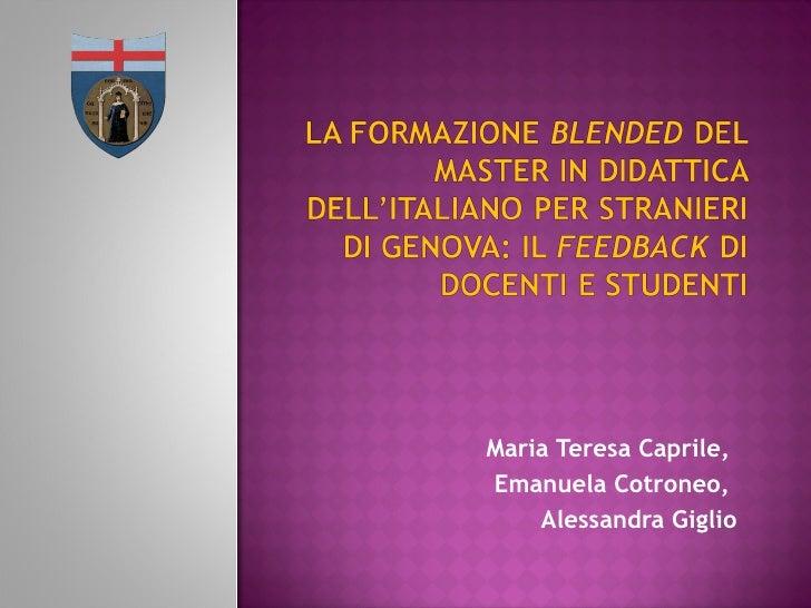 La formazione blended del Master in Didattica dell'Italiano per Stranieri di Genova: il feedback di docenti e studenti