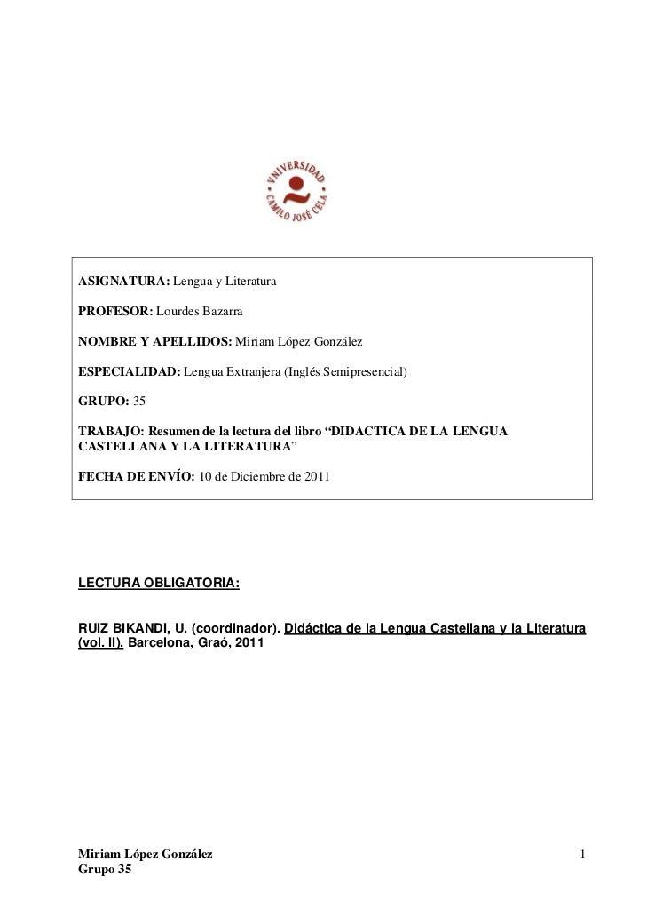 Didáctica de la lengua castellana y la literatura