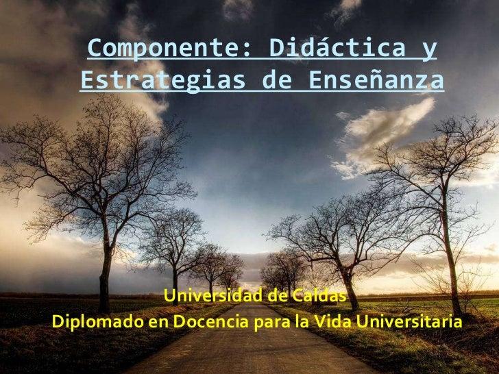 Componente: Didáctica y Estrategias de Enseñanza <ul><li>Universidad de Caldas  </li></ul><ul><li>Diplomado en Docencia pa...