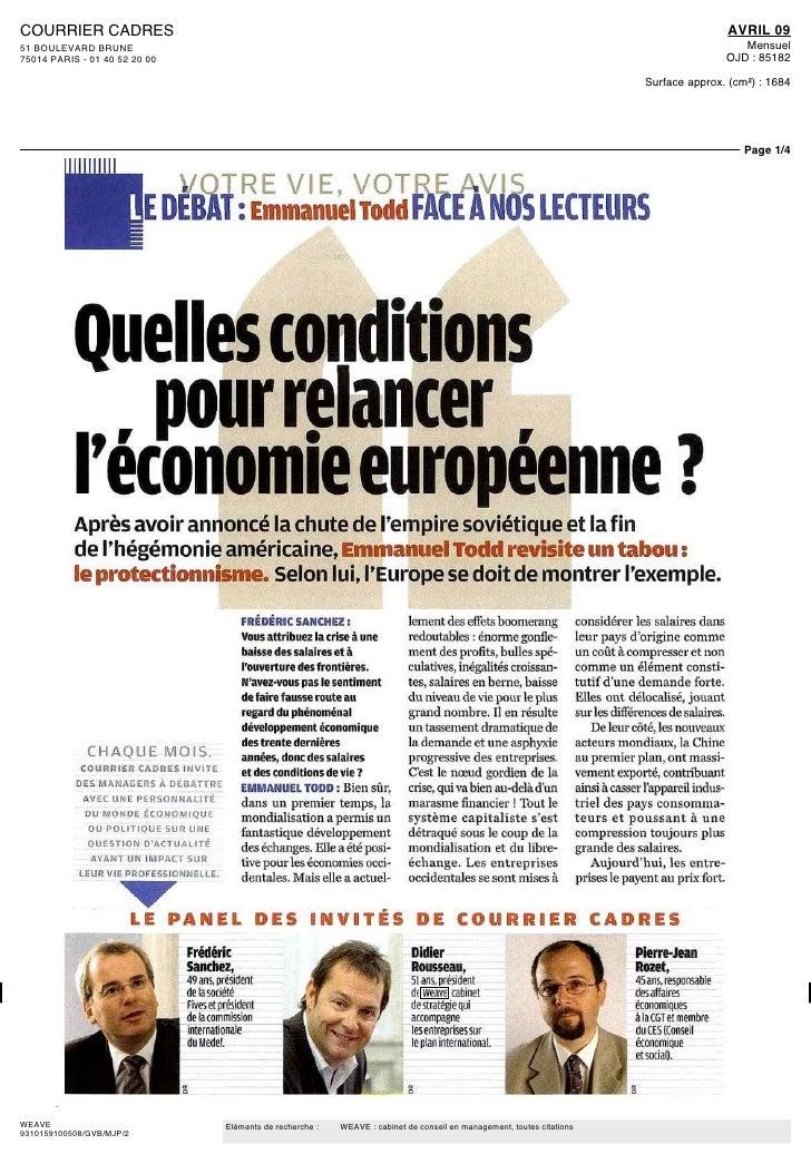 Didier Rousseau Courrier Cadres 04 février 2009