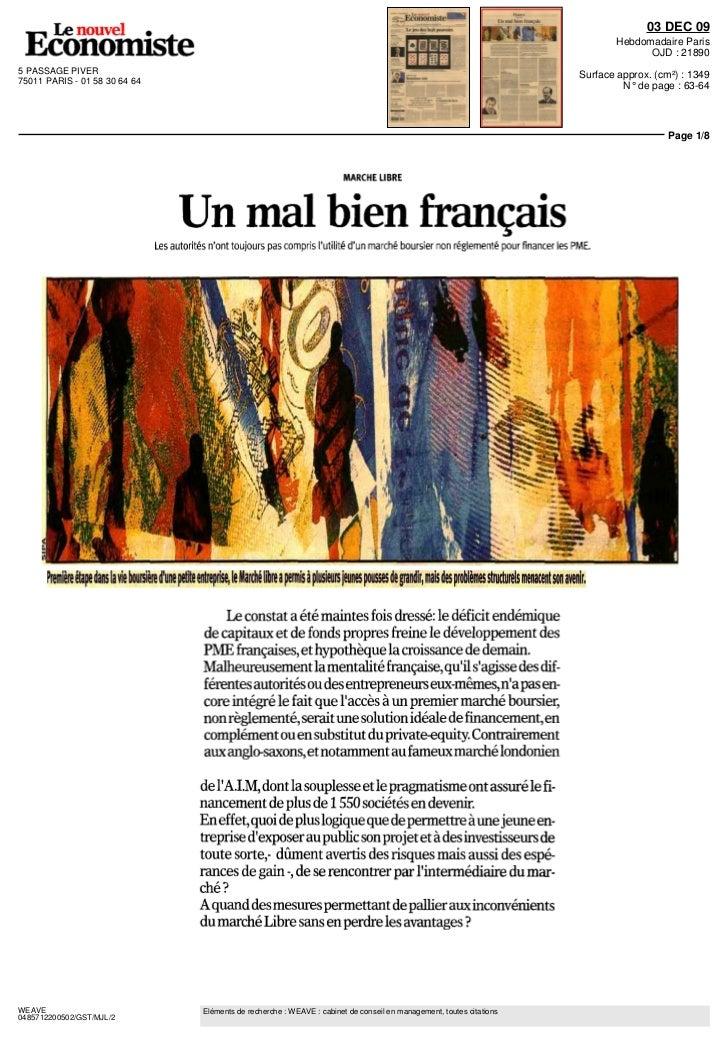 Didier Rousseau Le Nouvel économiste 07 décembre 2009