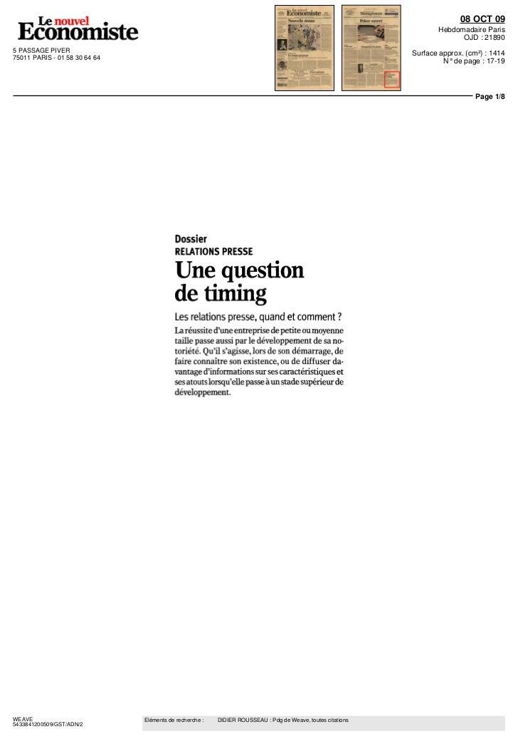 """Didier Rousseau LE NOUVEL ECONOMISTE """"Une question de timing"""" 08 novembre 2009"""
