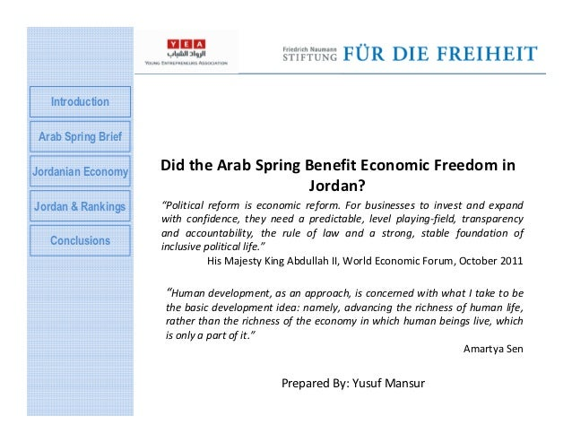 Did the arab spring benefit economic freedom in jordan by dr. yusuf mansur