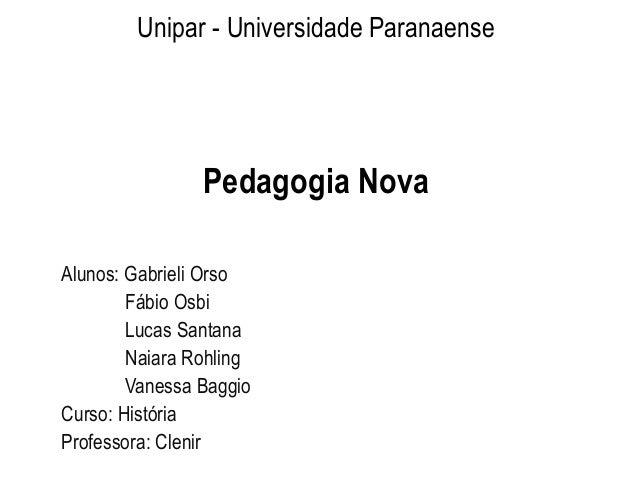 Unipar - Universidade Paranaense Pedagogia Nova Alunos: Gabrieli Orso Fábio Osbi Lucas Santana Naiara Rohling Vanessa Bagg...