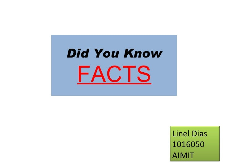 Did You Know FACTS Linel Dias 1016050 AIMIT