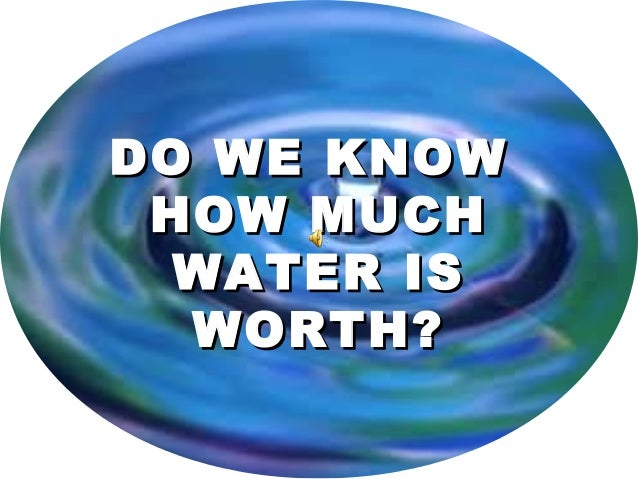 DO WE KNOWDO WE KNOW HOW MUCHHOW MUCH WATER ISWATER IS WORTH?WORTH?