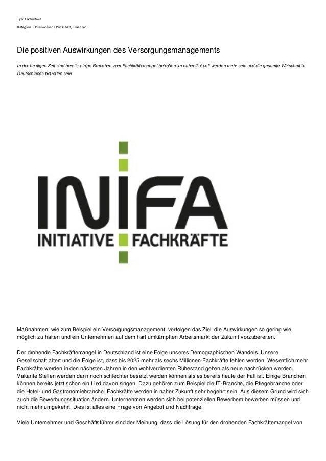 Typ: Fachartikel Kategorie: Unternehmen | Wirtschaft | Finanzen Die positiven Auswirkungen des Versorgungsmanagements In d...