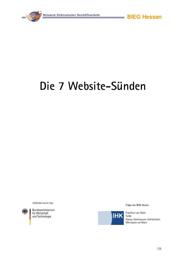 Die 7 Website-Sünden - Netzwerk Elektronischer Geschäftsverkehr - BIEG Hessen
