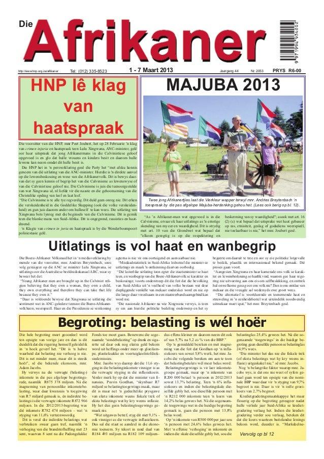 Diehttp://www.hnp.org.za/afrikaner   Tel: (012) 335-8523                    1 - 7 Maart 2013                              ...