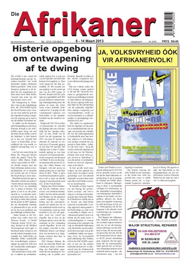 Diehttp://www.hnp.org.za/afrikaner       Tel: (012) 335-8523                          8 - 14 Maart 2013                   ...
