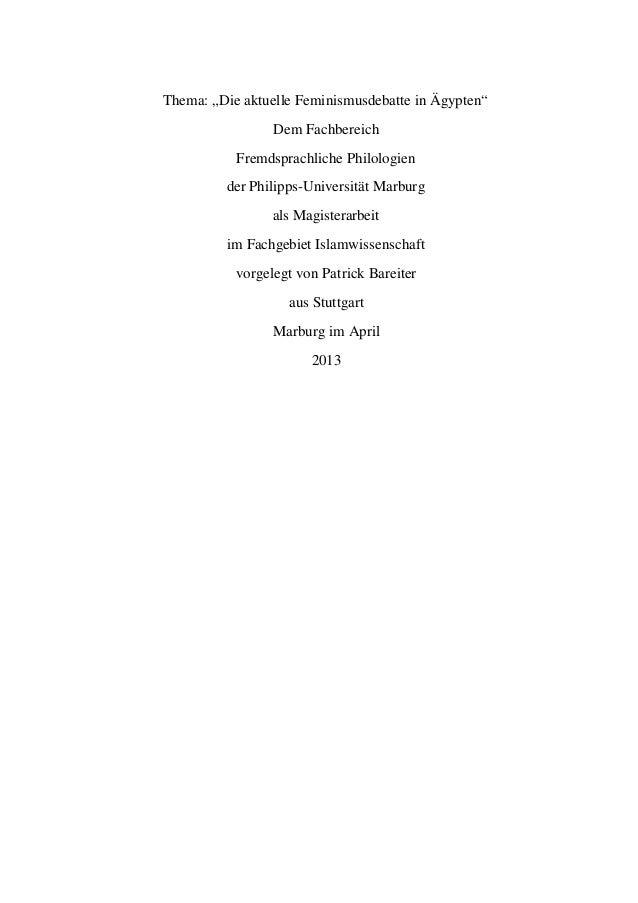 """Thema: """"Die aktuelle Feminismusdebatte in Ägypten""""  Dem Fachbereich  Fremdsprachliche Philologien  der Philipps-Universitä..."""