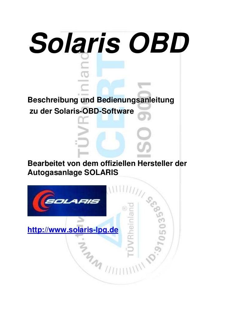 Solaris OBDBeschreibung und Bedienungsanleitungzu der Solaris-OBD-SoftwareBearbeitet von dem offiziellen Hersteller derAut...