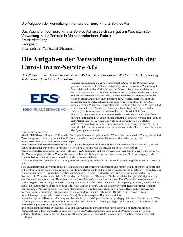 Die Aufgaben der Verwaltung innerhalb der Euro-Finanz-Service AG Das Wachstum der Euro-Finanz-Service AG lässt sich sehr g...