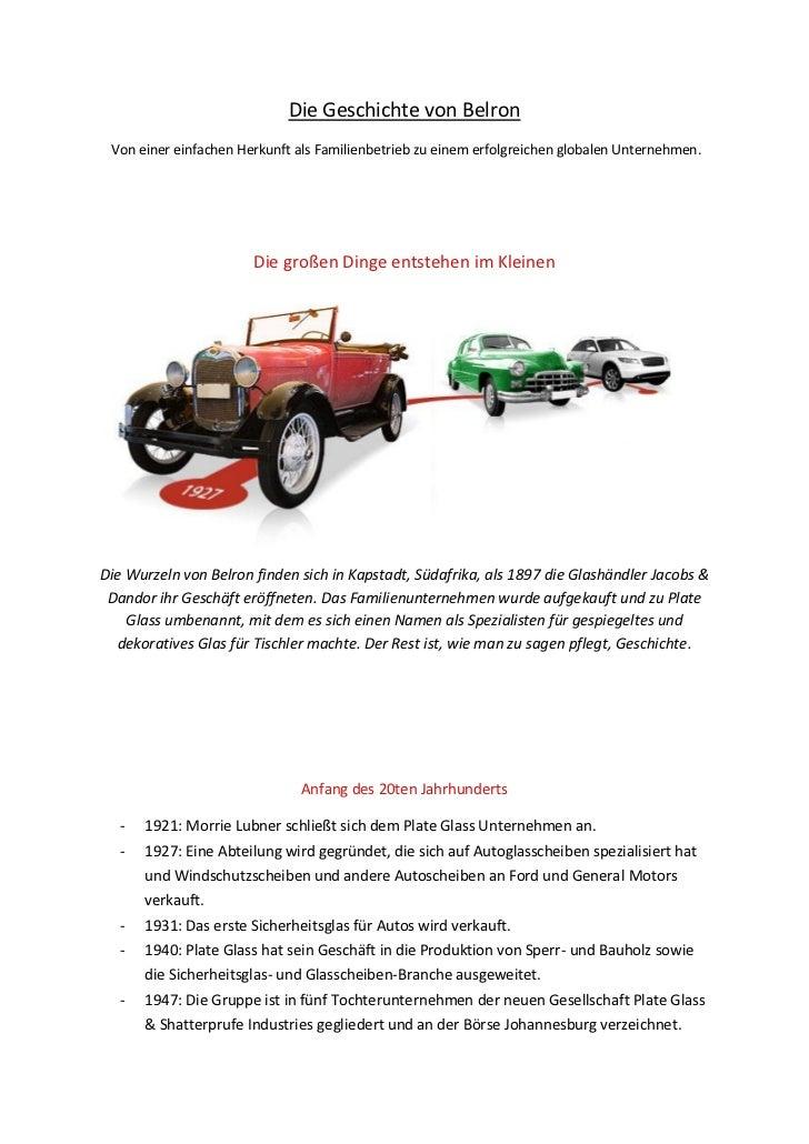 Die Geschichte von Belron Von einer einfachen Herkunft als Familienbetrieb zu einem erfolgreichen globalen Unternehmen.   ...