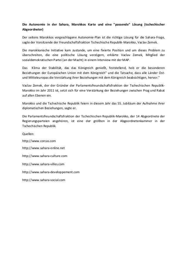 """Die Autonomie in der Sahara, Marokkos Karte und eine """"passende"""" Lösung (tschechischer Abgeordneter) Der seitens Marokkos v..."""