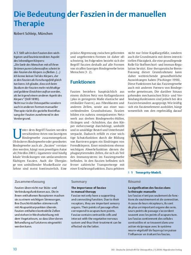10 DO · Deutsche Zeitschrift für Osteopathie, (1) 2004; Hippokrates Verlag U nter dem Begriff Faszien werden verschiedene ...