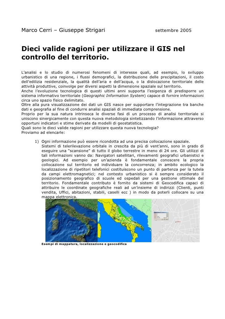 Marco Cerri – Giuseppe Strigari                                         settembre 2005    Dieci valide ragioni per utilizz...