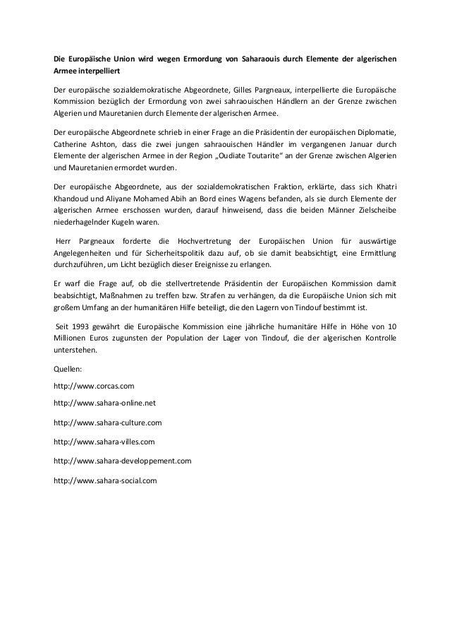 Die Europäische Union wird wegen Ermordung von Saharaouis durch Elemente der algerischen Armee interpelliert Der europäisc...