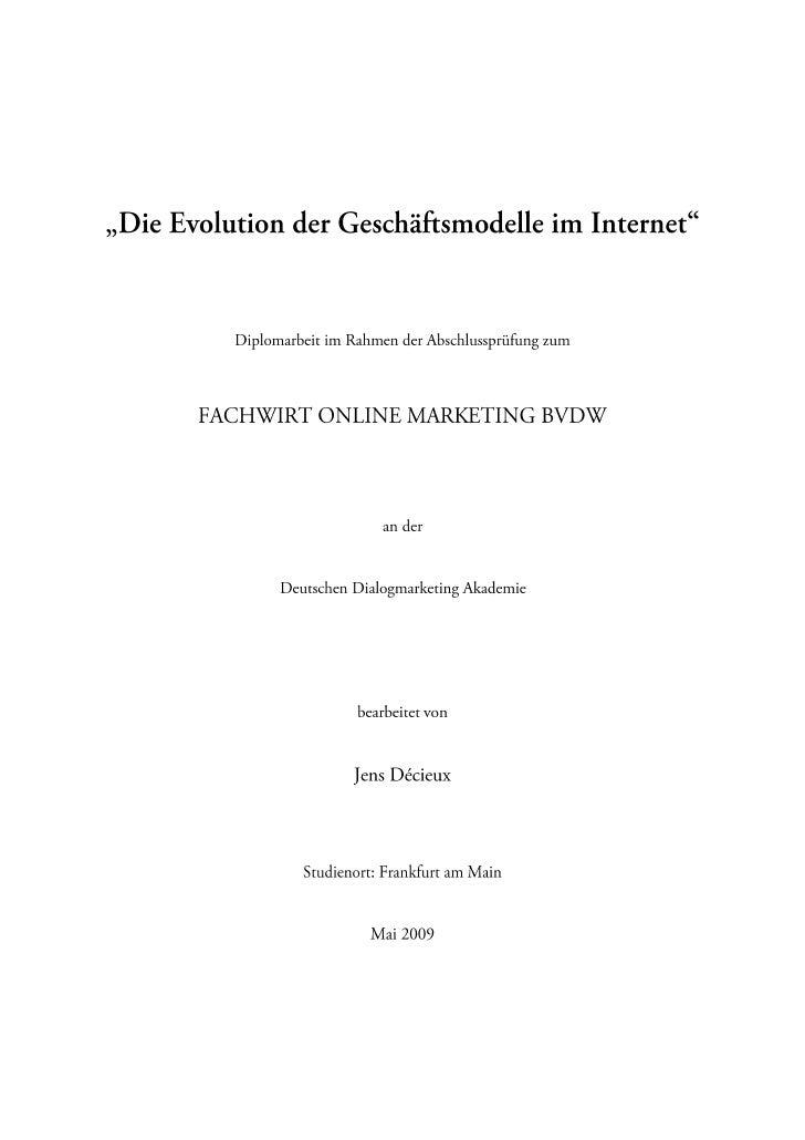 Die Evolution der Geschäftsmodelle im Internet