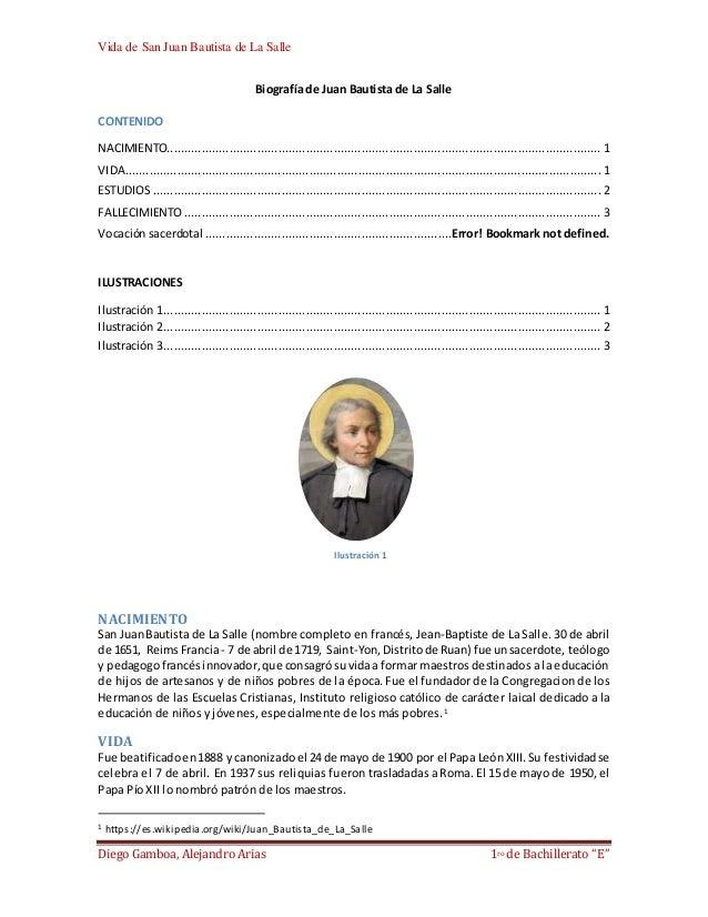 "Vida de San Juan Bautista de La Salle Diego Gamboa, Alejandro Arias 1ro de Bachillerato ""E"" Biografía de Juan Bautista de ..."