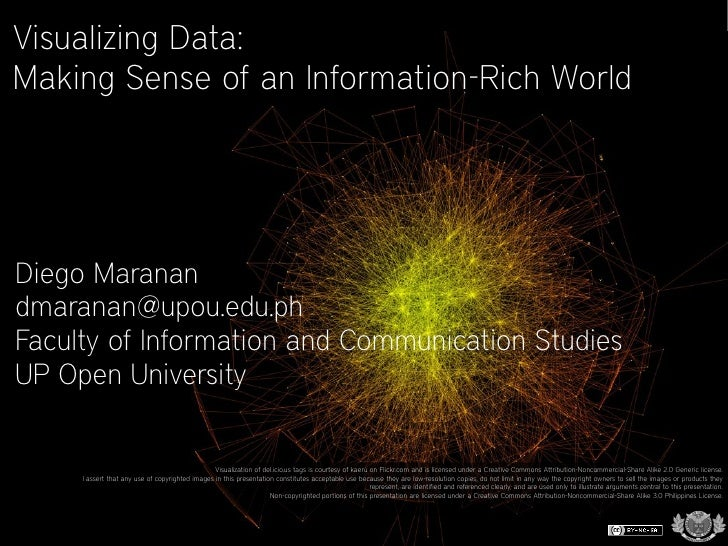 Visualizing Data: Making Sense of an Information-Rich World     Diego Maranan dmaranan@upou.edu.ph Faculty of Information ...