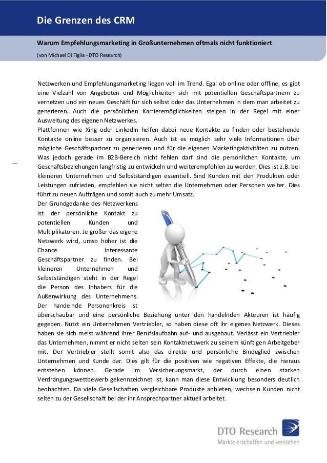 Die Grenzen des CRM Warum Empfehlungsmarketing in Großunternehmen oftmals nicht funktioniert (von Michael Di Figlia - DTO ...